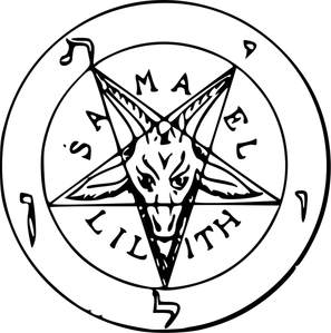 Image is a round sigil with the head of a goat shaped into an upside down pentagram, the words Samael and Lillith appear on the bottom and top of the goat head respectively.