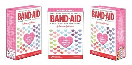 A triplicate image of a pink box of bandaid brand bandaids decorated with pastel hearts, each image of the box showing a different angle.